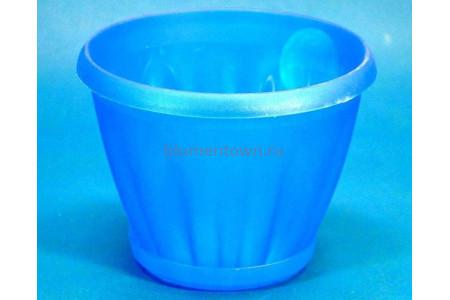Горшок для цветов пластиковый с поддоном Знатный 1л (прозрачно-синий)