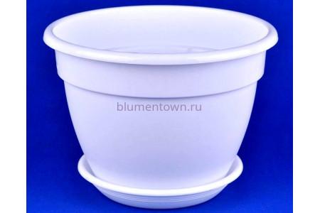 Горшок для цветов пластиковый с поддоном Антик с под.22 (бел)