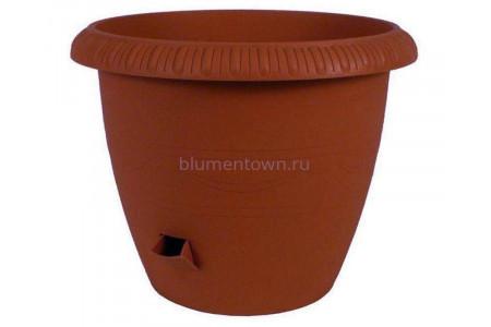 Кашпо для цветов пластиковое «Le jardin» на колесах 20,5л (терракотовый)