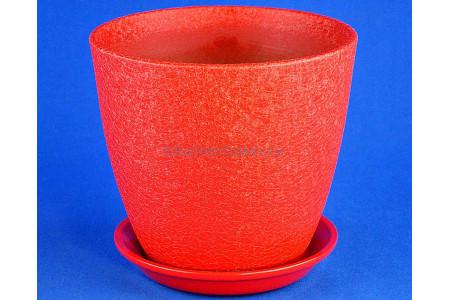 Горшок для цветов керамический с поддоном Винил красный 21см ВН 03/4
