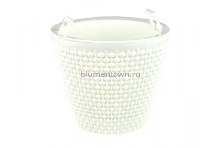 Кашпо пластиковое двойное без поддона и дренажного отверстия Ротанг 1,6л (бел-бел) КШ6467