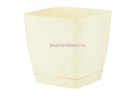 Горшок для цветов пластиковый с поддоном Toscana квадр. 5л с под.(крем) (0734-001)