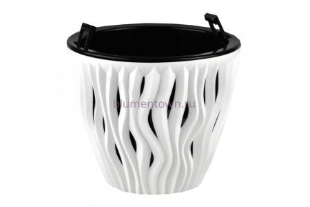 Кашпо пластиковое двойное без поддона и дренажного отверстия Вдохновение 1,6л (бел-черн) КШ5400