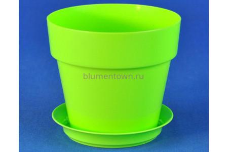 Горшок для цветов пластиковый с поддоном Протея 0,7л с под. (лайм) 2167