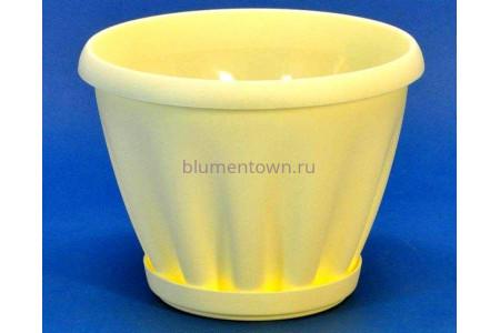 Горшок для цветов пластиковый с поддоном Знатный 1л (желтый)