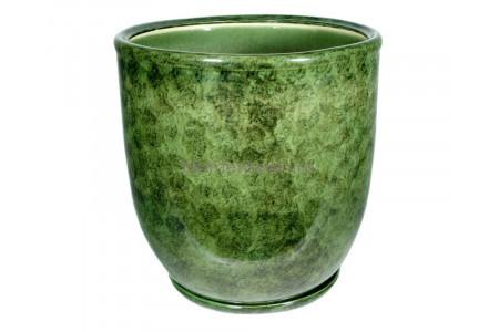 Горшок для цветов керамический с поддоном «Кедр №4» зеленый 28л