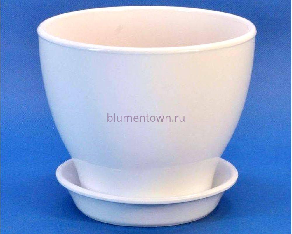 Цветочный горшок из керамики «Ксения КП 7 (15л) белый»