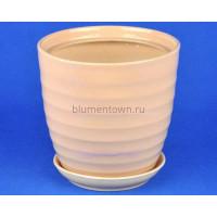 Горшок для цветов керамический с поддоном Кольца d25см (беж) (203)