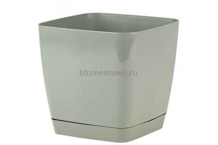 Горшок для цветов пластиковый с поддоном Toscana квадр. 3,7л с под.(серое) (0733-059)