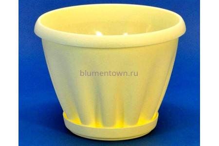 Горшок для цветов пластиковый с поддоном Знатный 3,9л (желтый)