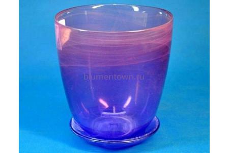 Горшок из стекла цветочный  «№3 алебастр  крашеный розово-фиолет.»