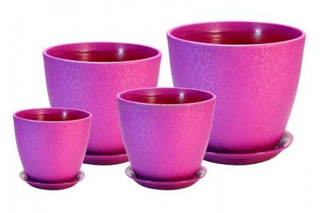 Горшки для цветов керамические с поддонами в наборе из 4-х Бутон Винил лиловый