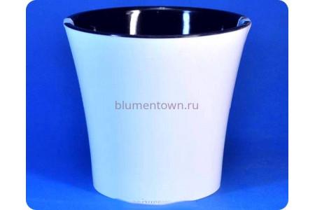 Кашпо пластиковое без поддона и дренажного отверстия «АРТЕ 0,6л (белый-черный)»