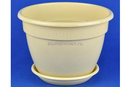 Горшок для цветов пластиковый с поддоном Антик с под.17 (крем)