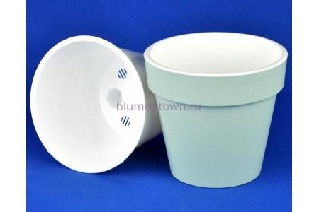 Кашпо без поддона пластиковое двойное Протея 1,4л (мята-белый)