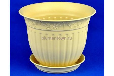 Горшок для цветов пластиковый с поддоном Виноград с под.16 (крем) 16-К