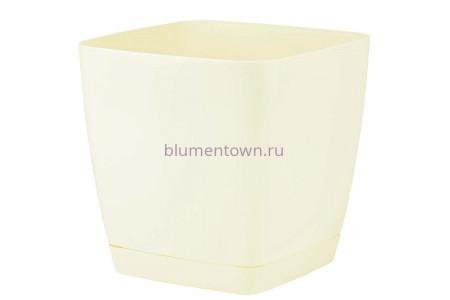 Горшок для цветов пластиковый с поддоном Toscana квадр. 7,6л с под.(крем) (0735-001)