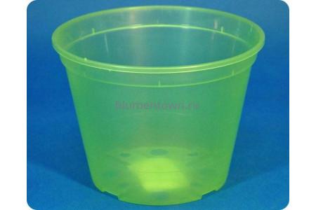 Кашпо дренажное пластиковое  18 х 13,5см (салатово-прозрачное)