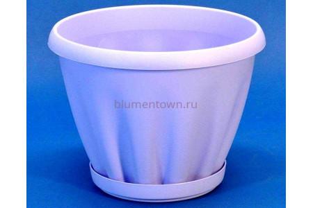 Горшок для цветов пластиковый с поддоном Знатный 3,9л (сирень)