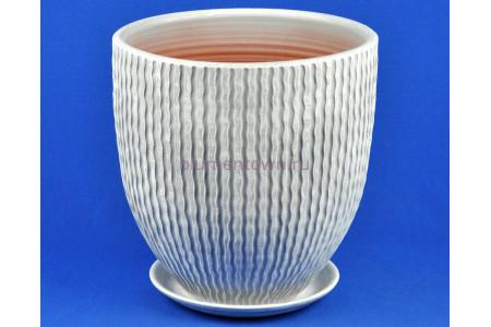 Горшок для цветов керамический с поддоном МАНЕ бутон 4 бел/сер  М1-418  5-18