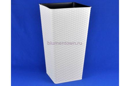 Кашпо со вставкой пластиковое без поддона и дренажного отверстия Ротанг квадр. 15л (белая роза) 001
