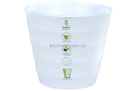 Горшок для цветов пластиковый Лаура с под. 1,4л  (бел-бел) ЛР1410
