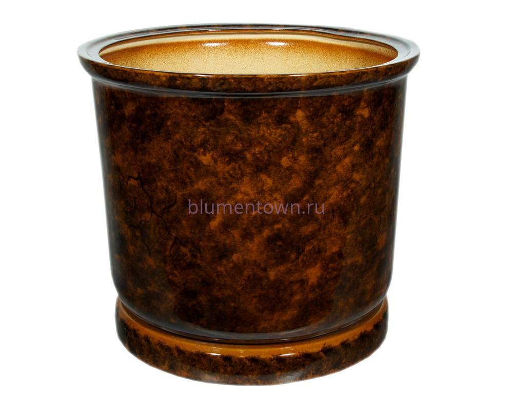 Горшок для цветов керамический с поддоном «Цилиндр №7» коричневый 40л