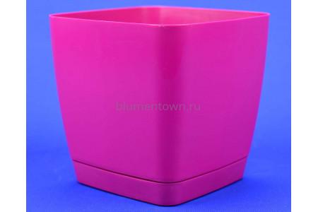 Горшок для цветов пластиковый с поддоном Toscana квадр. 3,7л с под.(ягодное) (0733-043)