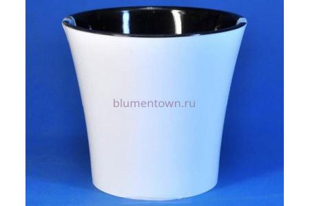 """Кашпо пластмассовое для орхидеи  """"Apte   1,2л (белый-черный)"""""""